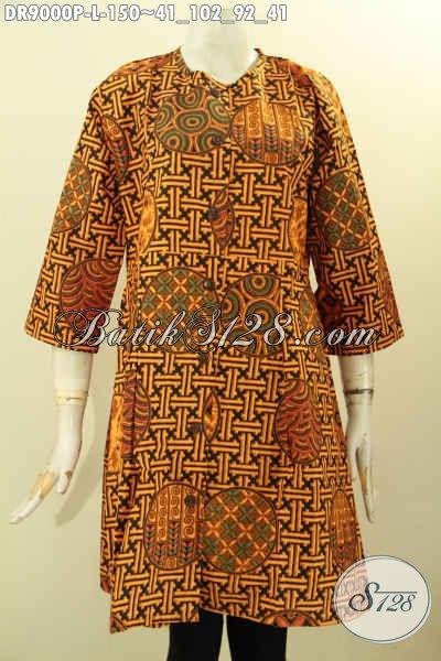 Baju Dress Batik Wanita Motif Modern Klasik, Busana Batik Halus Desain Tanpa Kerah Lengan 3/4 Di Lengkapi Kancing Depan, Tampil Modis Dan Gaya Dengan Harga Terjangkau [DR9000P-L]