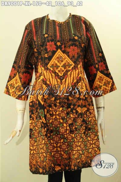 Baju Batik Perempuan Terbaru Desain Berkelas Motif Elegan Lengan 3/4, Pakaian Batik Solo Asli Kancing Depan Pakaian Kerah, Bisa Untuk Acara Santai Maupun Resmi Tampil Istimewa