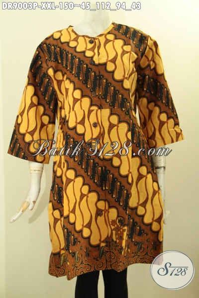 Busana Batik Dress Big Size Spesial Untuk Wanita Gemuk, Pakaian Batik Modis Dengan Lengan 3/4 Kancing Depan Tanpa Kerah, Menunjang Penampilan Lebih Cantik Dan Mempesona [DR9003P-XXL]