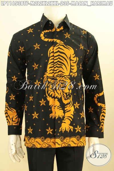 Aneka Baju Batik Cowok Motif Macan, Kemeja Batik Istimewa Model Lengan Panjang Mewah Pakai Furing Proses Printing Cabut, Bisa Untuk Acara Santai Maupun Resmi