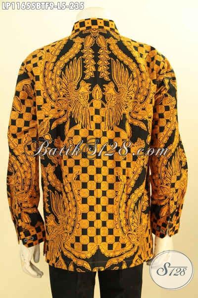 Kemeja Batik Pria Elegan Motif Bagus Dan Berkelas, Hem Batik Lengan Panjang Full Furing Nan Mewah Proses Printing Cabut, Bikin Penampilan Lebih Gagah Mempesona [LP11655BTF-L]
