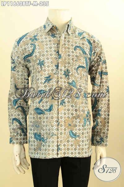 Kemeja Batik Pria Muda Lengan Panjang, Pakaian Batik Kerja Desain Formal Full Furing Motif Mewah Printing Cabut, Pas Untuk Rapat Tampil Berwibawa