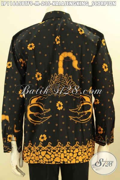 Baju Batik Motif Scorpion, Kemeja Batik Solo Elegan Full Furing Model Lengan Panjang Nan Elegan, Bahan Halus Prosees Printing Cabut Anti Luntur Dan Nyaman Di Pakai Harian