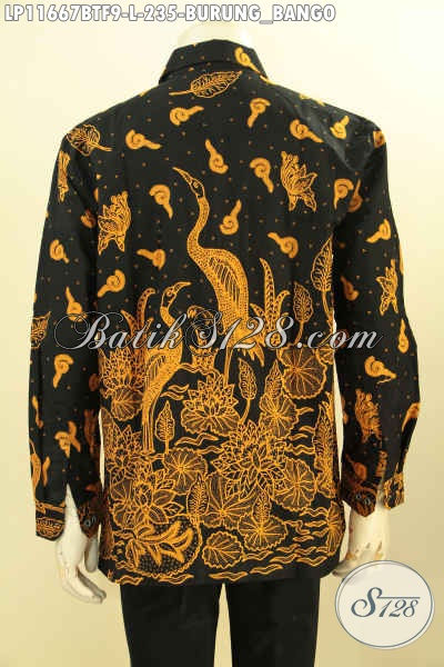 Baju Batik Motif Burung Bangau Lengan Panjang Full Furing, Model Pakaian Batik Pria Masa Kini Proses Printing Cabut, Tampl Gagah Menawan Hanya 200 Ribuan