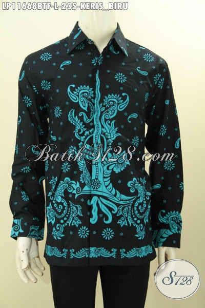 Hem Batik Pria Ukuran L Model Lengan Panjang, Pakaian Batik Solo Jawa Tengah Asli Daleman Full Furing Bahan Adem Proses Printing Motif Keris Warna Biru, Penampilan Terlihat Istimewa