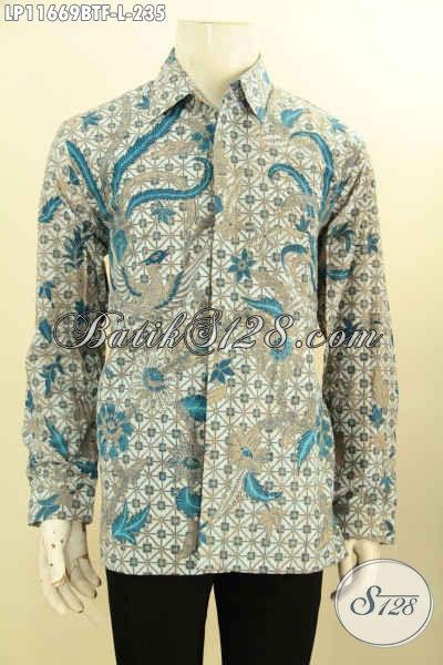 Kemeja Batik Cowok Nan Istimewa, Pakaian Batik Solo Halus Lengan Panjang Pakai Furing Bahan Adem Motif Mewah Printing Cabut, Menunjang Penampilan Lebih Sempurna [LP11669BTF-L]