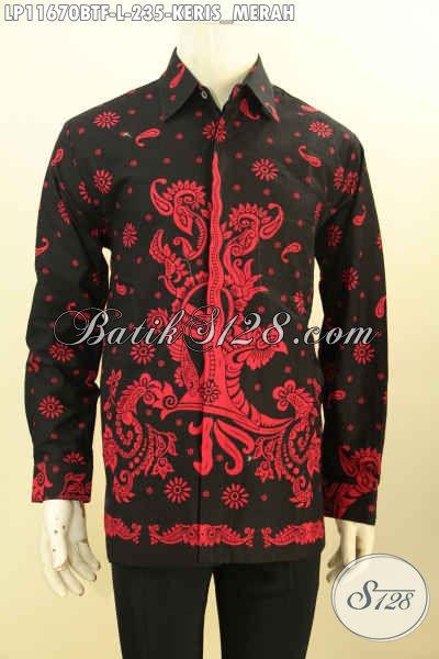 Hem Batik Keris Warna Merah Lengan Panjang Full Furing, Busana Batik Solo Proses Printing Cabut Kwalitas Premium Yang Menunjang Penampilan Lelaki Lebih Sempurna Dan Berkelas