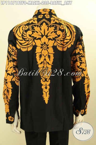 Busana Batik Elegan Berkelas Desain Khas AHY, Busana Batik Solo Lengan Panjang Motif Keren Bahan Halus Proses Printing Cabut, Penampilan Terlihat Gagah Bak Pejabat