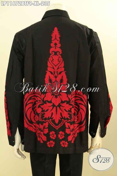 Model Baju Batik Pria Dewasa Lengan Panjang, Busana Batik Solo Elegan Nan Berkelas Full Furing Motif Bagus Warna Merah Proses Printing Cabut, Cocok Buat Ngantor Dan Jalan-Jalan