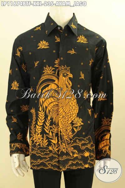 Baju Kemeja Batik Jumbo Lengan Panjang Motif Ayam Jago, Hem Batik Elegan Mewah Pakai Furing Proses Printing Cabut, Pas Banget Buat Ngantor Dan Hangout