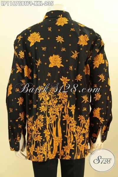 Batik Hem Solo Big Size Lengan Panjang Full Furing, Busana Batik Berkelas Nan Elegan Dan Mewah Bahan Adem Proses Printing Cabut, Penampilan Lebih Gagah Dan Mewah