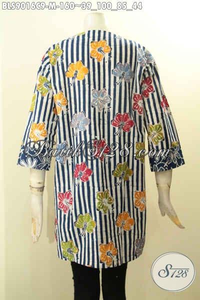 Batik Blouse Lengan Panjang 7/8 Kancing Depan, Baju Batik Modis Motif Unik Tren Masa Kini Proses Cap, Tampil Gaya Dan Gaul