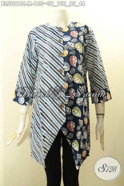 Blouse Batik Dual Motif, Pakaian Batik Trendy Desain Berkelas Warna Bagus Proses Cap, Baju Batik Wanita Muda Lengan Panjang 7/8 Pakai Kancing Depan, Cocok Buat Kerja Dan Jalan-Jalan