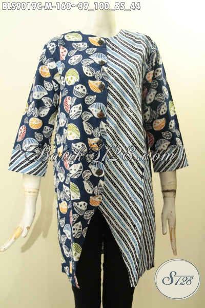 Baju Batik Kombinas Wanita Size M, Pakaian Batik Modis Lengan Panjang 7/8 Pakai Kancing Depan Bahan Adem Dual Motif Trendy Proses Cap, Tampil Gaya Mempesona