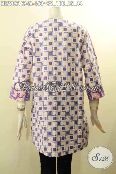 Produk Pakaian Batik Wanita Terkini, Blouse Batik Solo Jawa Tengah Nan Istimewa Model Lengan Panjang 7/8 Dengan Kancing Depan Berpadu Motif Modern Proses Cap, Cocok Buat Ngantor Dan Hangout