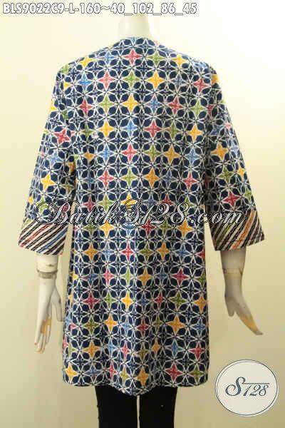 Baju Batik Kombinasi Untuk Wanita Modern, Blouse Batik Dual Motif Desain Trendy Dengan Kancing Depan Dan Lengan Panjang 7/8, Tampil Cantik Anggun