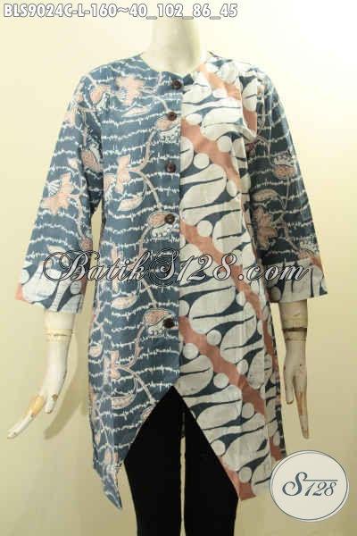 Model Terbaru Blouse Batik Cewek Untuk Penampilan ELegan Dan Gaya, Pakaian Batik Istimewa Lengan Panjang 7/8 Bahan Adem Motif Bagus Proses Cap Di Lengkapi Kancing Depan, Cocok Juga Untuk Acara Resmi Atau Ngantor [BLS9024C-L]