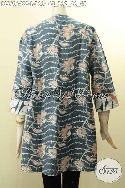Baju Batik Blouse Motif Kombinasi Modern Klasik, Pakaian Batik Istimewa Desain Kancing Depan Lengan Panjang 7/8 Bahan Halus Yang Nyaman Di Pakai, Pas Buat Ngantor Ataupun Acara Resmi