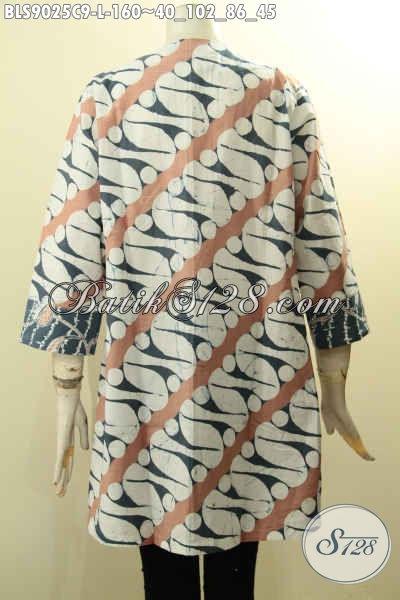 Produk Pakaian Batik Wanita Terbaru Desain Bagus Motif Berkelas, Busana Batik Solo Istimewa Lengan Panjang 7/8 Bahan Adem Di Lengkapi Kancing Depan, Tampil Gaya Dan Menawan