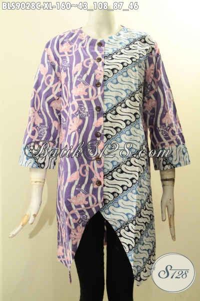 Model Baju Batik Kerja Wanita Karir Nan Berkelas, Busana Batik Modis Motif Kombinasi Model Lengan Panjang 7/8 Kancing Depan, Tampil Gaya Saat Kerja Dan Acara Resmi [BLS9028C-XL]