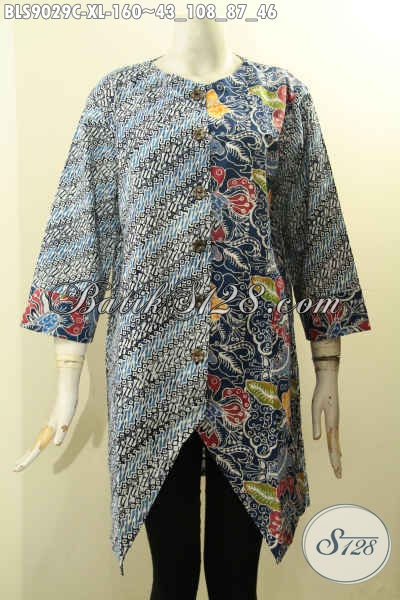 Model Baju Batik Kerja Wanita Karir Masa Kini, Hadir Dengan Desain Motif Nan Mewah Proses Cap, Pakaian Batik Istimewa Lengan Panjang 7/8 Pakai Kancing Depan, Penampilan Cantik Menawan