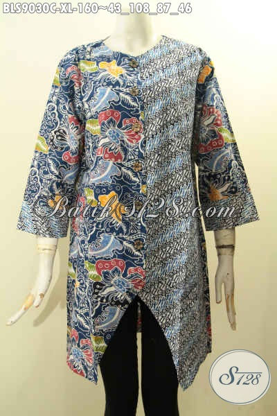 Baju Batik Istimewa Untuk Penampilan Terlihat Mempesona, Pakaian Batik Solo Untuk Wanita Dewasa Model Lengan Panjang 7/8 Kancing Depan Motif Modern Klasik Proses Cap Hanya 160K