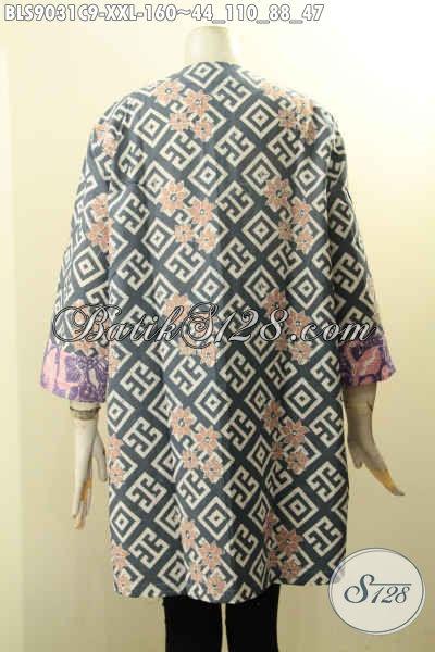 Blouse Batik Elegan Warna Berkelas Berpadu Motif Nan Mewah Proses Cap, Pakaian Batik Solo Spesial Buat Wanita Gemuk Model Lengan Panjang 7/8 Kancing Depan, Pas Buat Ngantor