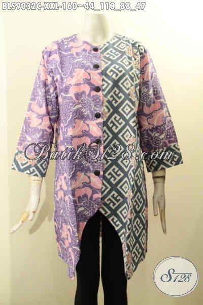 Model Busana Batik Ukuran Jumbo, Pakaian Batik Blouse Wanita Gemuk Nan Berkelas Lengan Panjang 7/8 Motif Bagus Proses Cap Dan Di Lengkapi Kancing Depan, Cocok Untuk Kerja Dan Santai [BLS9032C-XXL]