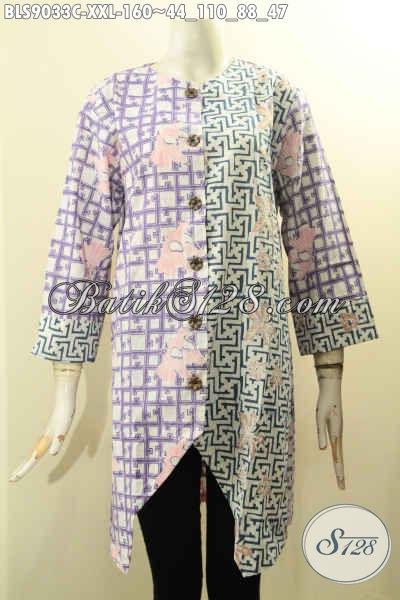 Baju Batik Perempuan Untuk Kerja, Blouse Batik Solo Asli Lengan Panjang 7/8 Kancing Depan Motif Bagus Proses Cap Yang Menunjang Penampilan Lebih Gaya Dan Trendy [BLS9033C-XXL]
