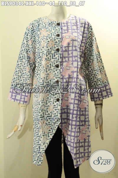 Baju Batik Blouse Lengan Panjang 7/8 Ukuran L3, Busana Batik Modern Pakai Kancing Depan Dengan Kombinasi Motif Trendy Proses Cap, Pas Banget Buat Ngantor Dan Acara Formal