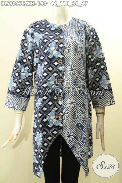 Pakaian Batik Wanita Gemuk Motif Kombinasi, Busana Blouse Batik Khas Jawa Tengah Desain Kekinian Di Lengkapi Kancing Depan Dan Lengan Panjang 7/8, Bikin Penampilan Cantik Anggun