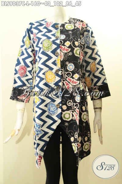 Model Busana Batik Wanita Paling Trendy Saat Ini, Hadir Dengan Kombinasi Motif Berpadu Dengan Lengan Panjang 7/8 Serta Kancing Depan, Pas Buat Ke Kantor Atau Jalan-Jalan