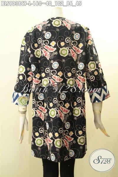 Batik Blouse Keren Jawa Tengah, Pakaian Batik Solo Istimewa Ukuran Desain Trendy Lengan Panjang 7/8 Motif Bagus Dan Di Lengkapi Kancing Depan, Tampil Maki Menawan