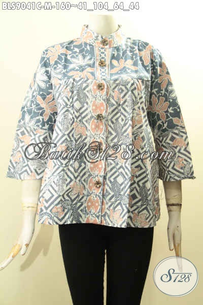 Batik Blouse Kerah Shanghai Lengan Panjang 7/8 Desain Keren Bahan Halus, Baju Batik Modis Untuk Wanita Muda Tampil Lebih Mempesona