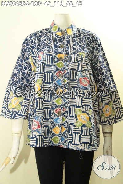 Baju Batik Wanita Casual, Blouse Batik Modern Model Terbaru Dengan Motif Trendy Proses Cap, Bahan Adem Lengan Panjang 7/8 Kerah Desain Shanghai, Pas Banget Untuk Kerja Tampil Lebih Bergaya [BLS9045C-L]