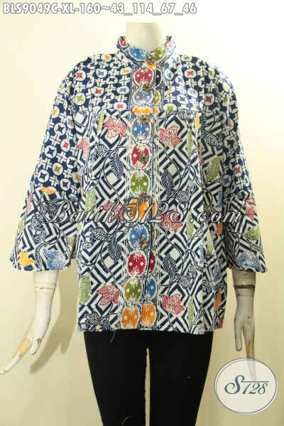 Blouse Batik Istimewa Untuk Wanita Karir Dan Rumahan, Hadir Dengan Desain Kerah Shanghai Berpadu Motif Berkelas Proses Cap Serta Lengan Panjang 7/8, Bisa Juga Untuk Acara Resmi