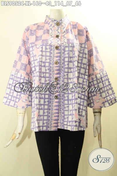 Produk Busana Batik Kerah Shanghai Nan Istimewa, Baju Batik Kerja Wanita Modern Model Kerah Shanghai Lengan Panjang 7/8, Penampilan Makin Menawan