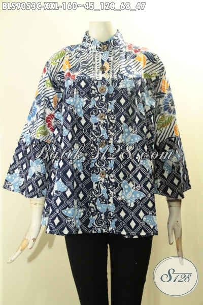 Baju Batik Blouse Wanita Gemuk Nan Modis, Pakaian Batik Solo Asli Desain Kerah Shanghai Lengan Panjang 7/8, Modis Buat Ngantor Tampil Gaya