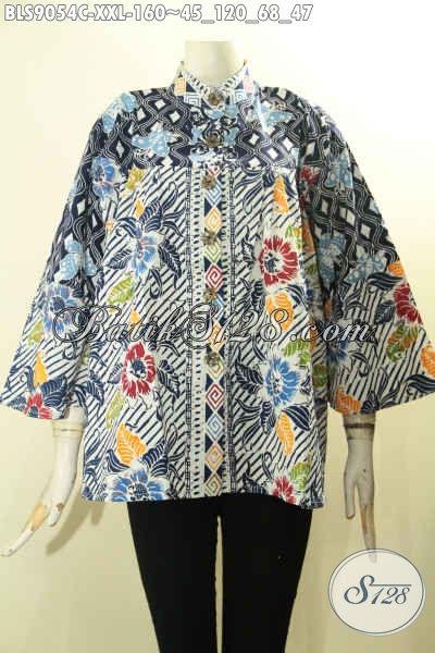 Toko Busana Batik Online Koleksi Up To Date, Sedia Blouse Lengan Panjang 7/8 Modis, Pakaian Batik Wanita Gemuk Kerah Shanghai Motif Terkini Menunjang Penampilan Makin Menawan