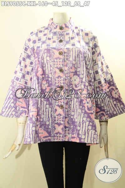 Baju Batik Kerja Wanita Murah Ukuran Jumbo, Blouse Batik Perempuan Gemuk Model Kerah Shanghai Lengan Panjang 7/8 Motif Bagus Warna Berkelas Proses Cap Hanya 160K
