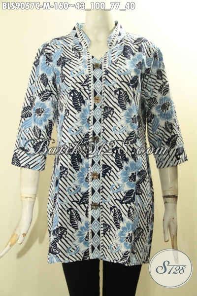 Baju Blouse Wanita Paling Di Cari, Hadir Dengan Motif Trendy Lengan 3/4 Kancing Depan, Pakaian Batik Wanita Masa Kini Untuk Penampailan Modis Dan Kekinian