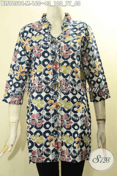 Pakaian Batik Wanita Untuk Penampilan Lebih Trendy, Blouse Batik Solo Desain Modis Dengan Motif Unik Proses Cap Lengan 3/4 Dan Kancing Depan, Cocok Banget Buat Ke Kantor