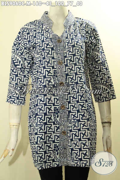 Baju Batik Perempuan Untuk Kerja Dan Jalan-Jalan, Blouse Batik Solo Hadir Dengan Desain Modern Dengan Lengan 3/4 Serta Kancing Depan, Membuat Penampilan Lebih Gaya Dan Berkelas Hanya 160K