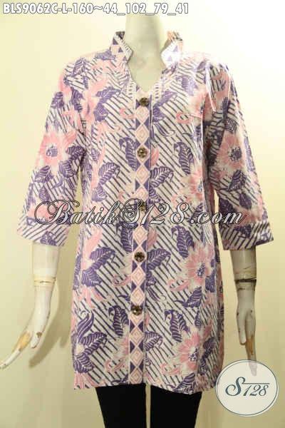 Koleksi Terbaru Batik Blouse Wanita Masa Kini, Baju Batik Istimewa Lengan 3/4 Bahan Adem Motif Bagus Proses Cap Yang Menunjang Penampilan Makin Mempesona [BLS9062C-L]