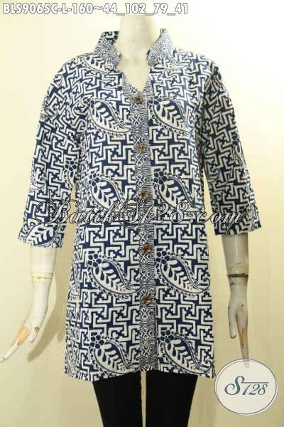 Pakaian Batik Wanita Modern Untuk Penampilan Beda Dan Gaya, Bahan Halus Kwalitas Istimewa Desain Kancing Depan Lengan 3/4 Motif Bagus Proses Cap Hanya 100 Ribuan