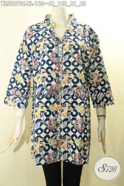 Batik Blouse Modern Lengan 3/4 Hadir Dengan Motif Unik Nan Berkelas Proses Cap, Pakaian Batik Solo Nan Istimewa Untuk Wanita Dewasa Pakai Kancing Depan Menunjang Penampilan Makin Mempesona