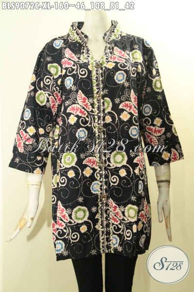 Jual Batik Blouse Istimewa Motif Terbaru Nan Trendy Dasar Hitam Elegan Proses Cap, Pakaian Batik Istimewa Model Lengan 3/4 Pakai Kancing Depan, Cocok Untuk Kerja Dan Jalan-Jalan