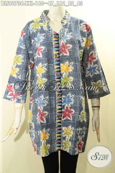 Produk Pakaian Batik Wanita Terkini, Blouse Batik Jumbo Lengan 3/4 Nan Modis Motif Unik Proses Cap Di Lengkapi Kancing Depan, Bikin Penampilan Lebih Stylish, Spesial Untuk Wanita Gemuk