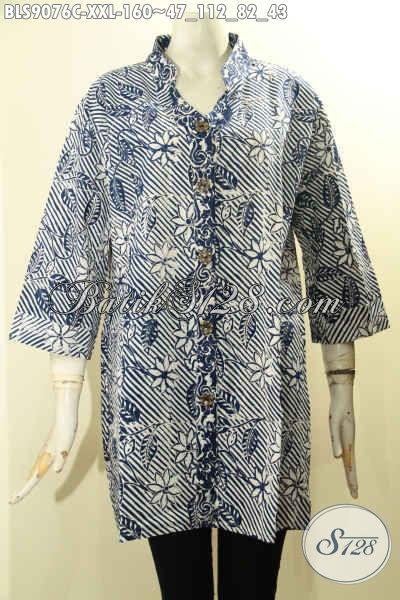 Jual Online Baju Batik Wanita Gemuk Lengan 3/4, Blouse Batik Modern Motif Unik Bahan Halus Proses Cap Di Lengkapi Kancing Depan, Pas Untuk Ngantor Dan Jalan-Jalan [BLS9076C-XXL]