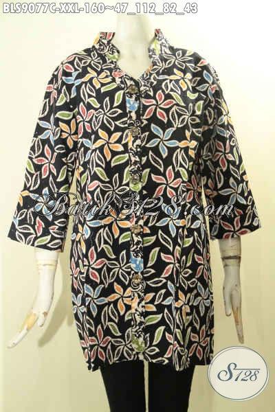Baju Batik Wanita Modern Untuk Kerja Dan Acara Resmi, Blouse Batik Big Size Lengan 3/4 Kancing Depan Motif Terkini Bahan Adem Nyaman Di Pakai